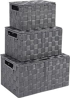 TcaFmac収納バスケット 収納ボックス 3個セット 三つのサイズ 取っ手付き 生活雑貨 おもちゃ収納 オフィス収納 浴室部屋収納 おしゃれな収納ボックス 可愛い収納ボックス 収納かご おしゃれなインテリア雑貨 車用収納 引き出し手編み 小物...