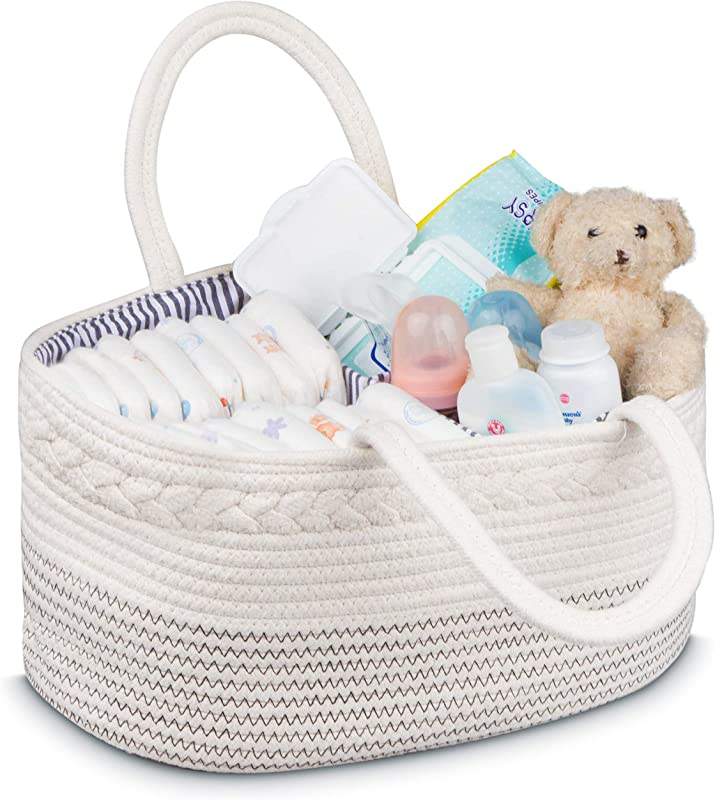 Baby Basket Jeneric Design S Woven Rope Portable Light Weight White Nursery Caddy Basket With Handles For Storage And Organization Of Diapers Toys Baby Laundry Clothes Towels Blankets
