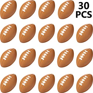 Sports Stress Ball, Mini Foam Squeeze Sports Ball, Foam Squeeze Sports Ball for School Carnival Reward, Party Bag Gift Fillers (Football, 30 Packs)