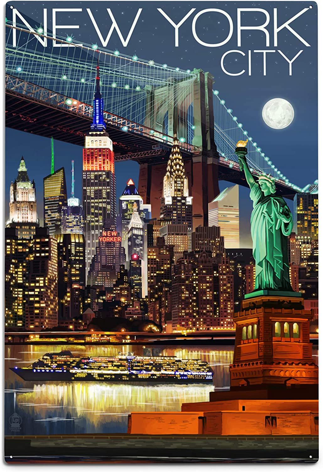 Amazon Com New York Skyline At Night 12x18 Art Print Wall Decor Travel Poster Posters Prints