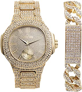 Hip Hop Cuban Iced Out ID Gold Bracelet with Oblong GLD Bling Watch -8475B Cuban IDGold