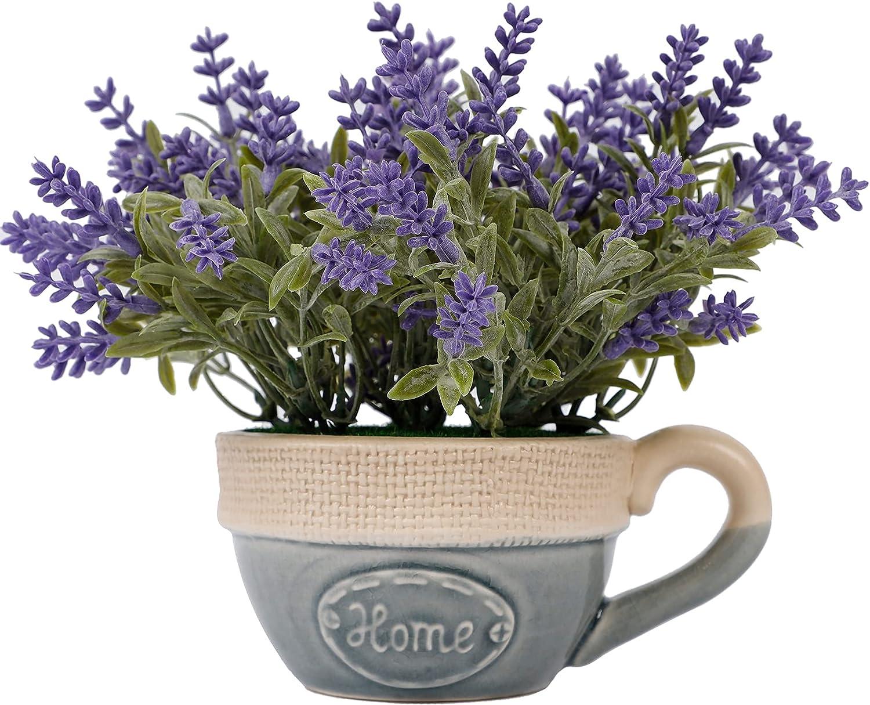 winemana Artificial Lavender Plant in Pot, Purple Faux Silk Floral Arrangements for Kitchen, Office, Weddings, Rustic Home Décor Indoor Outdoor Centerpieces (Dark Purple)