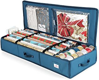 Luxury Christmas Wrapping Paper Storage Organizer Box- Wrapping Paper Rolls Storage, Under-Bed Storage Container for Holiday Storage, Storage Box For Holiday Accessories, 600D Oxford-polyester fabric