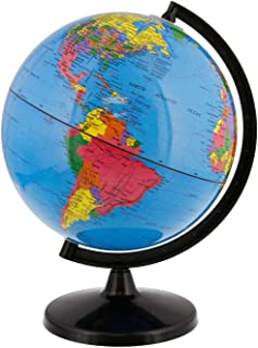 World Globe Great for Kids and Adults with Stand Desk 8 Inch Globe 12 Inch Educational Deluxe Blue Ocean Black Base Full E...