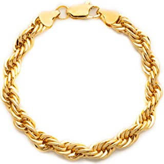 Lifetime Jewelry Gold Chain Bracelets for Men and Women [ 7mm Rope Chain ] - Diamond Cut Gold Bracelet with Up to 20X More 24k Real Gold Plating Than Other Bracelets - Hypoallergenic 7 8 and 9 inches
