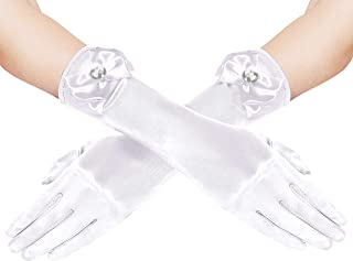 BABEYOND Girls Long Opera Dress-up Gloves Princess Satin Gloves Stretchy Bows Gloves Kids Size for Party Photography Elbow...