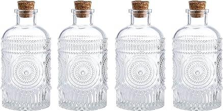 Whole Housewares Vintage Design Embossed Clear Glass Bottles,Glass Flower Bud Vase with Cork Lid Set of 4