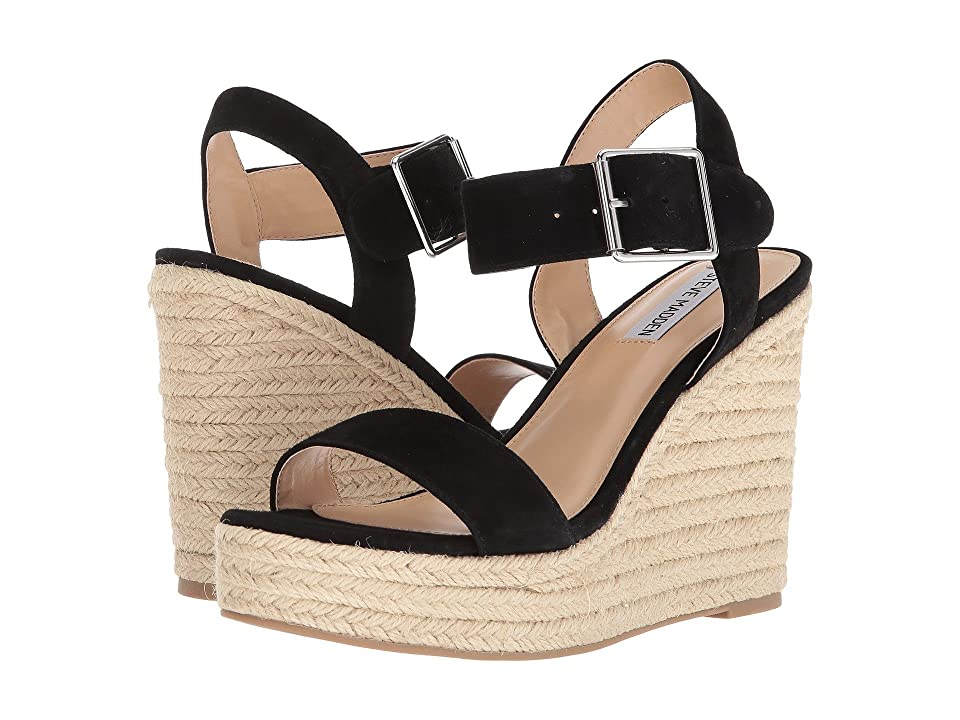 Steve Madden Santorini Espadrille Wedge Sandal (Black Suede) Women