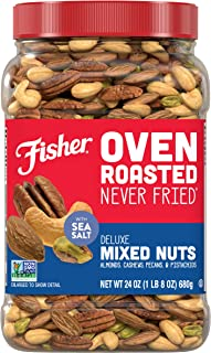 FISHER Snack Oven Roasted Never Fried Deluxe Mixed Nuts, 24 Oz, Almonds, Cashews, Pecans, Pistachios, Made With Sea Salt