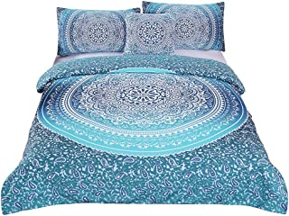 Sleepwish 4 Pcs Bohemian Luxury Boho Bedding Crystal Arrays Bedding Quilt Bedspread Mandala Hippie Duvet Cover Set Twin Size