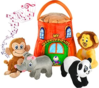 Best Gift for 1-5 year old EDUCATIONAL Plush Toy Talking Animal Set, Stuffed Animals, Elephant Monkey Lion & Panda Baby Toddler Toys, FEATURING 4 ADORABLE AUDIOS for ALL 4 Toys, REAL SOUNDS and 4 FUN FACTS Review