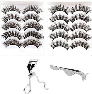 10 Pairs 5 Styles Natural False EyelashesFake Eyelashes Reusable 3D Handmade False Eyelashes Set for Natural Look with Free False Lashes Applicator, Eye lashes Curler