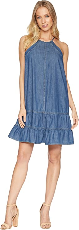 Sleeveless Denim Ruffled Halter Neck Dress