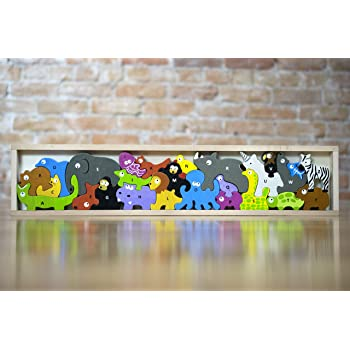 Amazon Com Beginagain Animal Parade A To Z Puzzle And Playset Educational Wooden Alphabet Puzzle 2 And Up Toys Games