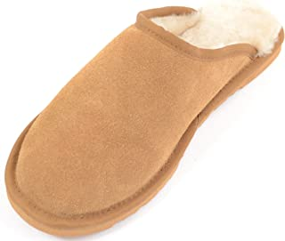 Genuine Unisex Mule Extra Thick Sheepskin Slip on Slippers with Hard Man Made Sole. Chestnut Brown. Size