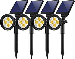 Nekteck 4 Pack Solar Lights, 2-in-1 Outdoor Solar Spotlights Powered Adjustable Wall Light Landscape Lighting, Bright and Dark Sensing, Auto On/Off for Yard, Pathway, Walkway, Garden, Driveway