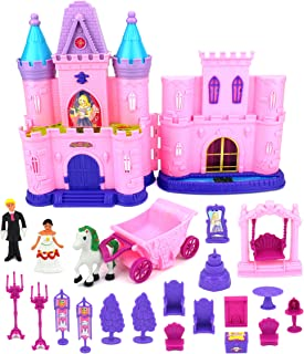 Velocity Toys My Dream Castle Toy Doll Playset w/ Lights, Sounds, Prince and Princess Figures, Horse Carriage, Castle Play House, Furniture, Accessories (Styles May Vary)