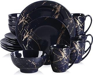 LOVECASA, Série Sweet. 16pcs Service de Table Complet Moderne en Porcelaine pour 4 Personnes 4 Assiette À Dessert,4 Assiet...