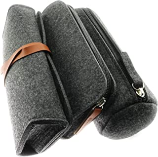 RuiLing 3-Pack Felt Pen Bag Multipurpose Large Capacity Minimalist Dark Gray Pencil Case Storage Pouch for School Students Stationery Office Supplies (1pcs Flat+1pcs Round+1pcs Lace-Up)
