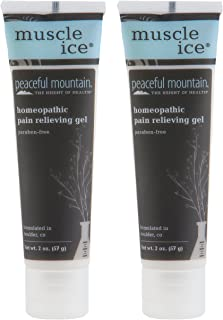 Peaceful Mountain Muscle Ice Homeopathic Pain Relieving Gel (Pack of 2) with Whey Protein, Camphor Wood Oil, St. John's Wort, Lavender and Ginger, 2 oz