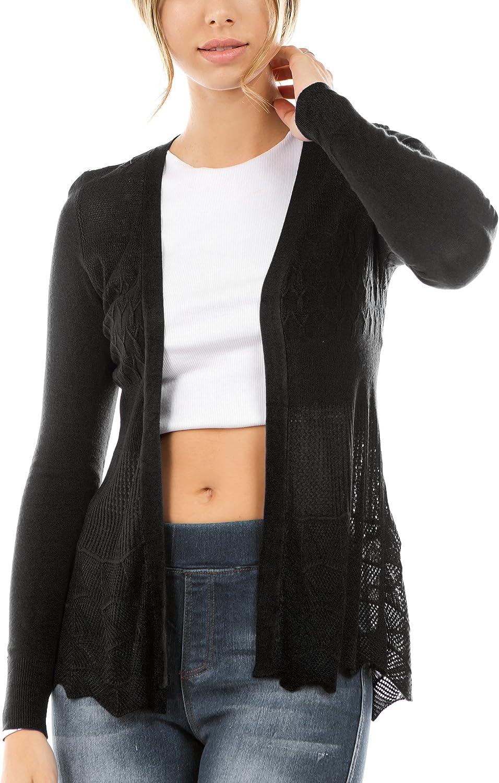 Vialumi Women's Long Sleeve Solid Open Front Pointelle Cardigan Regular/Plus Size (S-3X)