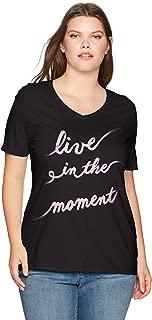 Women's Size Plus Printed Short-Sleeve V-Neck T-Shirt