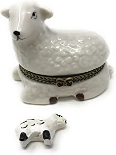 Porcelain Lamb Hinged Lid Trinket Box with Tiny Trinket Inside, 2.5 Inches Wide