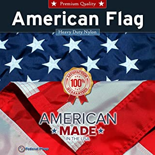Federal Flags 5-Star Rated American Flag/US Flag - 5x9.5ft Fully Sewn Stripes, Embroidered Stars - Outdoor Nylon - Made in The USA by Master Flagmakers