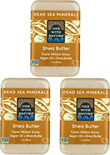 DEAD SEA Shea Butter SOAP 3 PK, Dead Sea Salt Includes Sulfur, Magnesium, etc. Argan Oil. All Skin Types, Problem Skin. An...