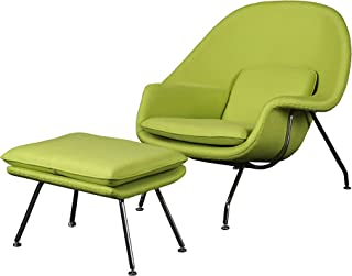 Cashmere Womb Chair and Ottoman Simple Modern Fashiounge Lounge Chair and Ottomann Style in Living Room (Green)