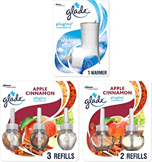 Glade Plugins Scented Oil Starter Kit, Plug in Air Freshener & Refills, Apple Cinnamon, 1 Warmer + 5 Refills, 3.35 Fl Oz, Pack of 5
