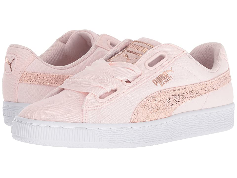 34ccbf2556d PUMA Basket Heart Canvas (Pearl Puma White Rose Gold) Women s Lace up  casual Shoes