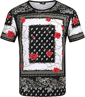 COOFANDY Men's African Printed T Shirt Short Sleeve Fashion Dashiki Cotton Hip-hop Shirt