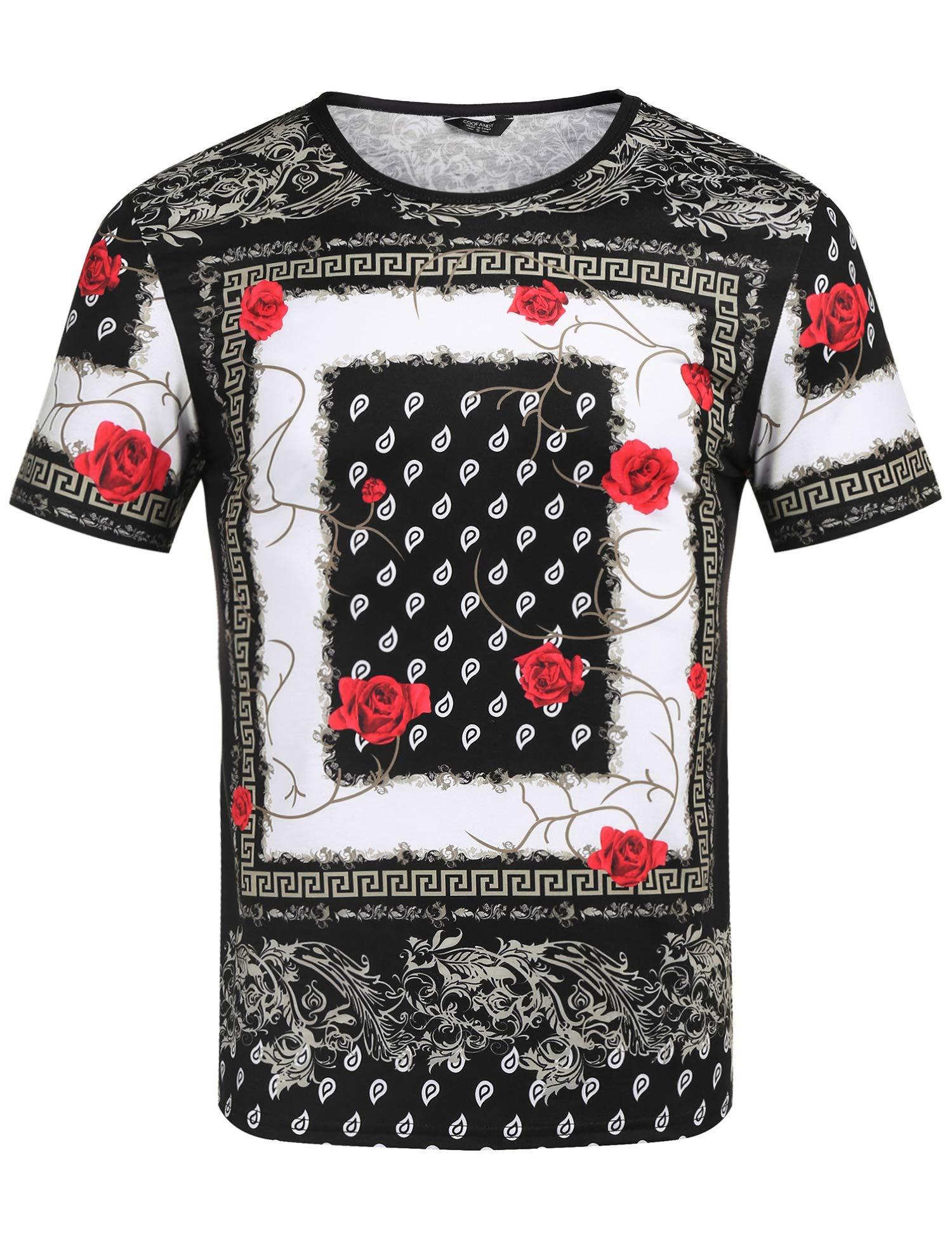bd48b3be8 COOFANDY Men's Hipster Hip Hop T Shirt Luxury Graphic Printed Shirts  Fashion African Print Tee