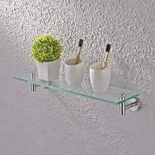 KES 20-Inch Glass Shelf Bathroom Storage Organizer Shelf with 8 MM-Thick Tempered Glass and Brushed Nickel Rustproof Metal Bracket Wall Mount Rectangular, A2021-2