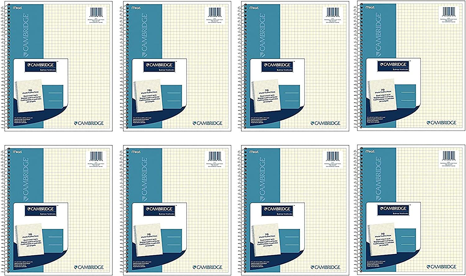 6194 70 Sheets-Ivory Cambridge Mead Wirebound Quad Notebook
