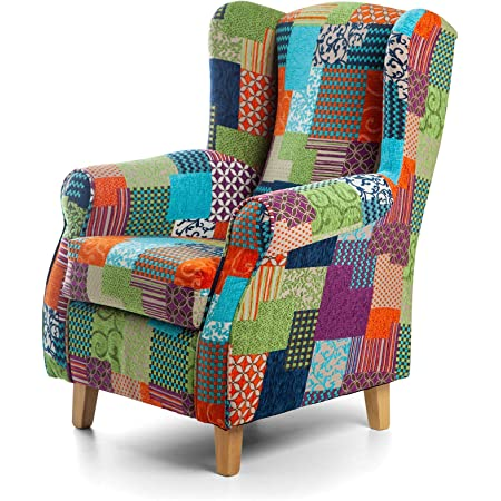 multicolor oficina comedor 2 piezas hogar rojo para sal/ón Sill/ón retro de tela de patchwork con asiento y patas acolchadas
