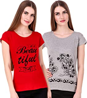 NIVIK Ladies Summer wear Casual Printed Cotton t-Shirts Combo of 2