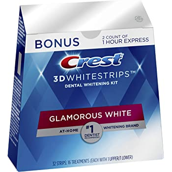 Crest 3D Whitestrips Glamorous White, Teeth Whitening Kit, 16 Treatments (32 Individual Strips) + 2 Bonus 1-Hour Express Treatments