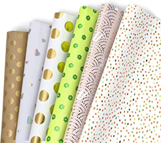 Papier Cadeau, Jolintek 6 Feuilles De Papier d'emballage Cadeau, Désign Estampage à Chaud Emballage Cadeau, Papier Cadeau ...