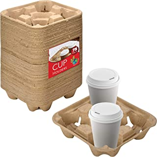 4 Cup Disposable Coffee Tray (75 Count) - Biodegradable and Compostable Cup Holder - Durable Drink Carrier for Hot or Cold...
