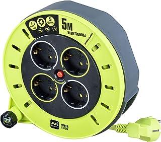 Masterplug CSG05164-PX Alargador 4 enchufes, manivela Enrollable, protección térmica e Interruptor de Red, Cable de 5 Metr...