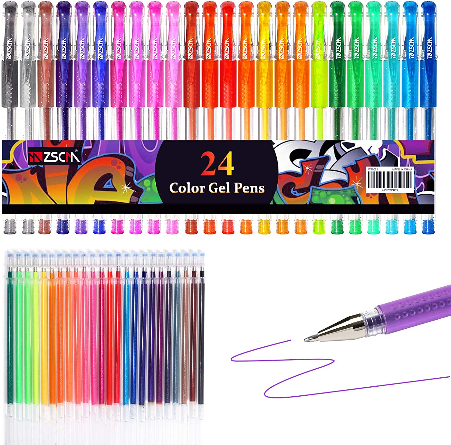 Glitter Gel Pens Excellent ZSCM 48 Pack Colored San Jose Mall 24 Co Include Set