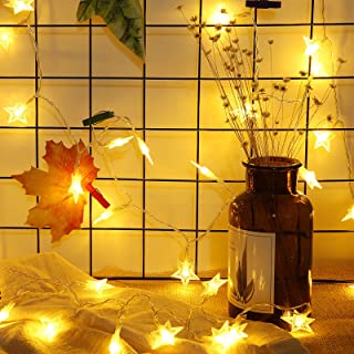 Meyin 50 LEDs Star Fairy Lights 16.4ft String Battery Operated Twinkle Warm White for Child Tent Play House Party Christmas Tree Decoration Lighting