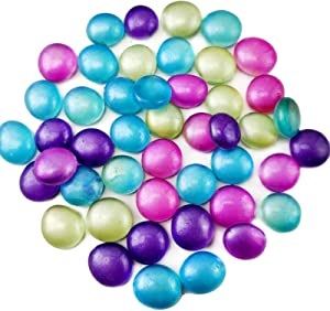 1.35 LB Glass Gems Stones Flat Marbles Vase Fillers for Crafts Project,Home Decoration,Table Scatters,Art Mosaics,Purple,Lake Blue,Fuchsia,Green