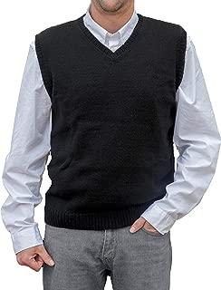 TINKUY PERU - Peruvian Alpaca Wool - Vest for Men Basic V Neck Sweater Pullover - Black