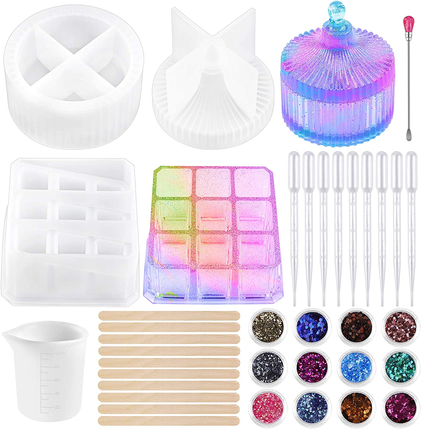 URATOT 2 Pack Silicone Jewelry Finally popular brand 2021new shipping free Molds Round Box Trinket
