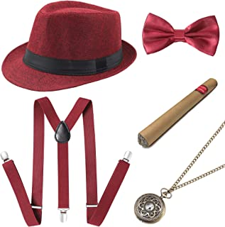 1920s Mens Gatsby Gangster Accessories Set Panama Hat Suspender Bow Tie
