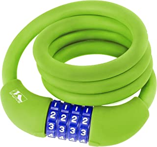 M-Wave Silicone-Covered Bicycle Cable Lock, multiple colors, multiple sizes available