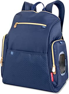 Fisher-Price Fashion Diaper Bag Backpack with Fastfinder Pocket System (Blue/Gold)